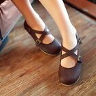 Womens Retro Loafers Moccasins Casual Cross Buckle Strap Flat Shoes Plus Size