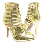 Gold Pointy Toe Cage Cut Out Stud Ankle Bootie Stiletto High Heel Pump US 5-11