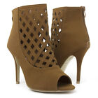 Tan Brown Open Toe Ankle Bootie Diamond Cut Out Stiletto High Heel Pump US 5-11