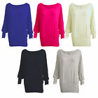 LADIES WOMENS LONG SLEEVE STRETCHY SEMI FITTED BATWING T-SHIRT TOP SIZE 8 - 14