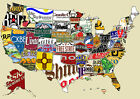 Beer Chart, Map of USA, A3,A4 Print Poster