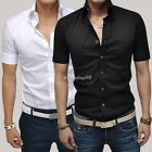Stylish Design Mens Short Sleeve Tops Button Shirts Casual Slim Fit Dress Shirt