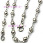 Unisex 4.2mm Handcrafted 316L Stainless Steel Ball Beads Chain Necklace Bracelet
