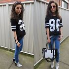 Top Women Celebrity Oversized 86 American Baseball Shorts Varsity Tee T-shirt LA