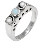 Sterling Silver Moonstone Moon Ring (sz 4 - 15) Wiccan Pagan Goddess Jewelry
