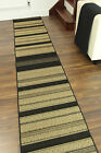 Durable Cut To Measure Any Length Black Beige Striped Thin Non Slip Runner Mat