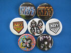 "KISS ROCK Band Necklace or Pinback set 7 pins SELECT SIZE 1"", 1.25"" or 2.25"""