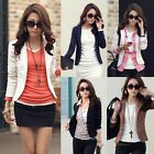 Women Slim Elegant OL Short Lapel One Button Blazer Long Sleeve Jacket Coat Suit