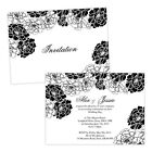 Personalised day/evening wedding invitations BLACK & WHITE FLORAL ROSE FREE ENVE