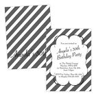 Personalised birthday party invitations GREY WHITE STRIPES FREE ENVELOPES & DRAF