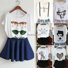 Short Sleeve Loose Casual White Printed Round Collar Tops Women's T-Shirt C1MY