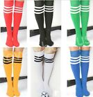 Men women Summer Classic Soft Thin Breathable Solid Striped Long Football Socks