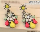 Lot Fashion Candy Multicolour Colorful Crystal Water Drop Earrings Free Shipping