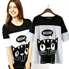 Lady Black/White Cat Animal Print Tops Blouse Shirt Women Loose Top T-shirt Tee
