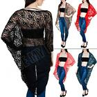 New Womens Ladies Batwing Baggy Maxi Lace Kimono Cardigan Top Size S M L XL 8 14