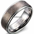 8mm Tungsten Carbide Ring Laser Tribal Celtic Knot Wedding Anniversary Band