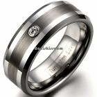 Men's Silver Tungsten Carbide Brushed Center One CZ Inlay Ring Beveled-edge Band