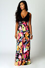Boohoo Womens Ladies Kiera Rose Print V Neck Maxi Dress In Black