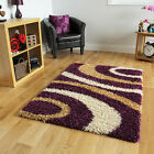 Small Large Soft Thick Modern Rugs New Non Shed Purple Swirl Design Shaggy Rugs