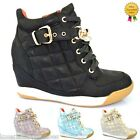 WOMENS LADIES HI TOP TRAINERS ANKLE WEDGE BOOT CELEBRITY STYLE BUCKLE SHOES SIZE