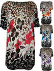 New Plus Size Womens Floral Animal Print Ladies Short Sleeve Tunic Top 12-18