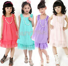 Lllusion Lace Bow Chiffon Summer Girl Dress Handmade Flower Korean Party Skirt