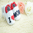 Classic Toddler Baby Girl white I love my mom Soft bottom Crib Shoes Size0-12Mth