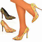 NEW Ladies Multicolour Pearl Embellished Neon Pointy Toe Court Shoes Heels Size