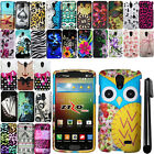 For LG Lucid 3 VS876 Rubberized Design Image PATTERN Hard Case Phone Cover + Pen