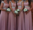 Real New Full Length Beads Bridesmaid Evening Prom Dress Size 6 8 10 12 14 16 18
