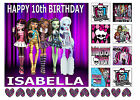 A4 EDIBLE ICING SHEET MONSTER HIGH NAME AGE GIRLS BIRTHDAY CAKE CUPCAKE TOPPERS