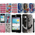 For LG Optimus F3 LS720 Design DIAMOND BLING CRYSTAL HARD Case Phone Cover + Pen