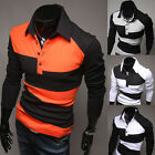 HOT SALE Mens Trendy Chic Cool Slim Long Sleeve Tee Polo Shirt T-Shirt Size XS~L