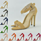 WOMENS PARTY FAUX SUEDE PEEP TOE HIGH HEELS SHOES SANDALS  UK 2-9 EU 35-42