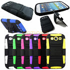 RUGGED COMBO CASE & BELT CLIP HOLSTER KICKSTAND FOR SAMSUNG GALAXY S3 S 3 I9300