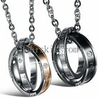 """Stainless Steel """" Eternal Love """" Double Twisted Rings Couples Pendant Necklace"""