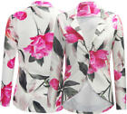 G10 NEW WOMEN LADIES FLORAL PRINT LONG SLEEVE BUTTON UP BLAZER JACKET COAT 08-14