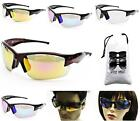 V3017-VP Sport Cycling Running Baseball Golf Wrap Flash Mirror Sunglasses +Pouch