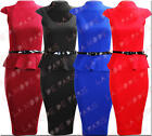 S35 NEW WOMENS PEPLUM MIDI DRESS LADIES FRILL BODYCON SKIRT PARTY CAP DRESS TOP.