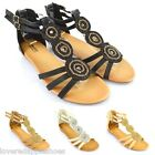 Ladies Low Wedge Buckle Open Toe Diamante Summer Beach Flower Sandals Shoes Size