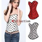 Sexy Red/White Dots Lace Up Boned Basque Overbust Corset Bustier Top S-2XL