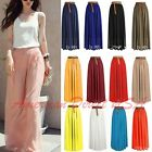 Women Double Layer Chiffon Pleated Retro Long Maxi Dress Elastic Waist Skirt