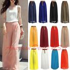 Women Double Layer Chiffon Pleated Retro Long Maxi Dress Ela