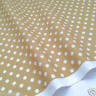 "per 1/2M / fat quarter beige with white 7mm spot 100 % cotton fabric 44"" wide"