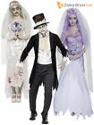 Mens Ladies Zombie Bride + Ghostly Groom Halloween Fancy Dress Costume Outfit