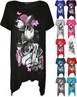 New Ladies Plus Size Floral Print Hanky Hem Womens Short Sleeve Long Top 16-26