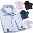 Stylish Slim Fit Men Long Sleeve Casual Shirts Classic French Cuff Dress Shirts