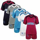 KIDS 2 PIECE T-SHIRT & SHORTS SET FOOTBALL PRINT GIRLS BOYS SPORTS KIT 3-14 YEAR