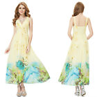 Ladies Yellow Printed Formal Evening Beach Summer Bridesmaid Dresses Gown 06084