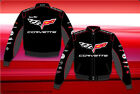 Chevy Corvette Collage Officially Licensed Mens Black Twill Jacket by JH Design